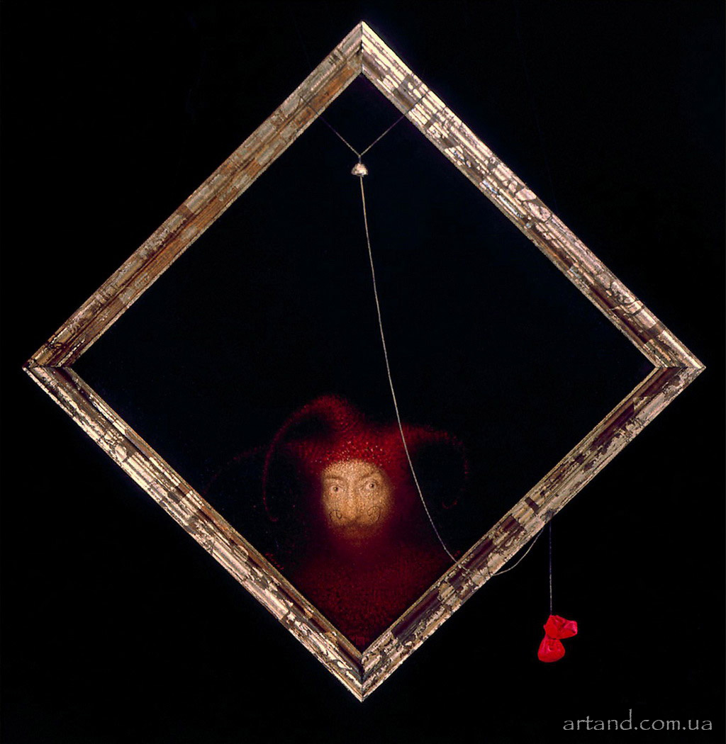 <strong>Old Jester</strong><br /><em>1994, 78х78</em>, Oil on canvas, installation