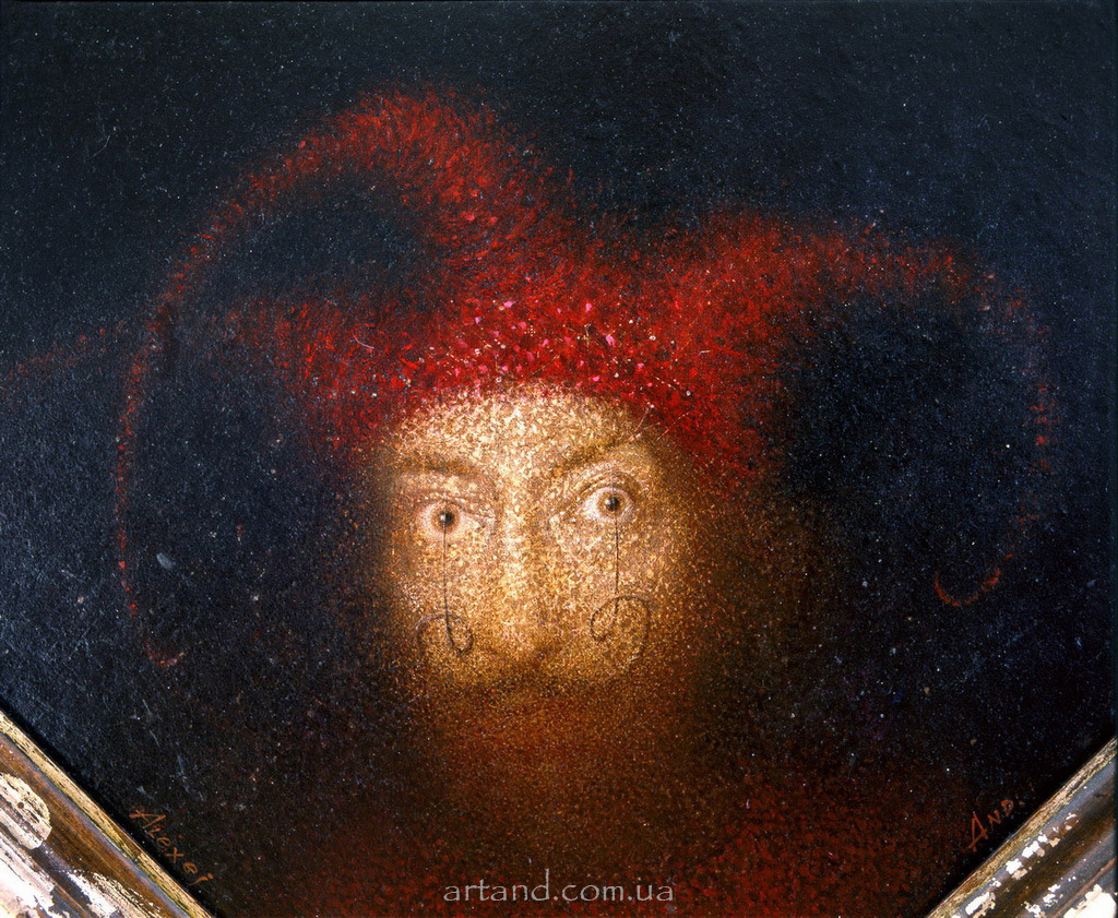 <strong>Old Jester</strong><br /><em>fragment</em>, Oil on canvas, installation